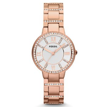 Fossil VIRGINIA Rose-Tone Ladies Watch with Crystals