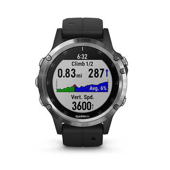 Garmin fēnix® 5 Plus GPS Watch - Glass Lens + Silicone Band