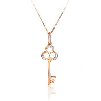 Liali CLOVER DIAMOND KEY 18K Pendant Necklace
