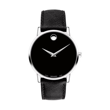 Movado MUSEUM Silver-Tone Gents Watch with Leather Strap