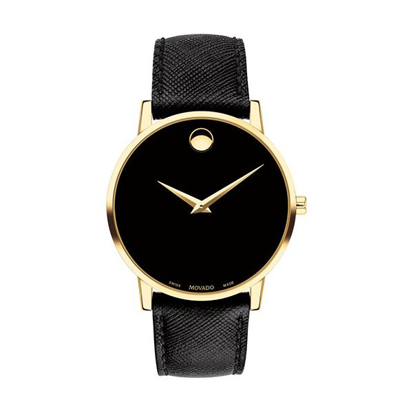 Movado MUSEUM Gold-Tone Gents Watch with Leather Strap Image