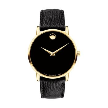 Movado MUSEUM Gold-Tone Gents Watch with Leather Strap