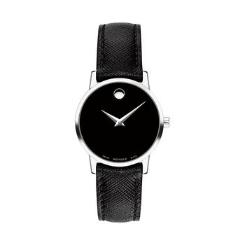 Movado MUSEUM Silver-Tone Ladies Watch with Leather Strap