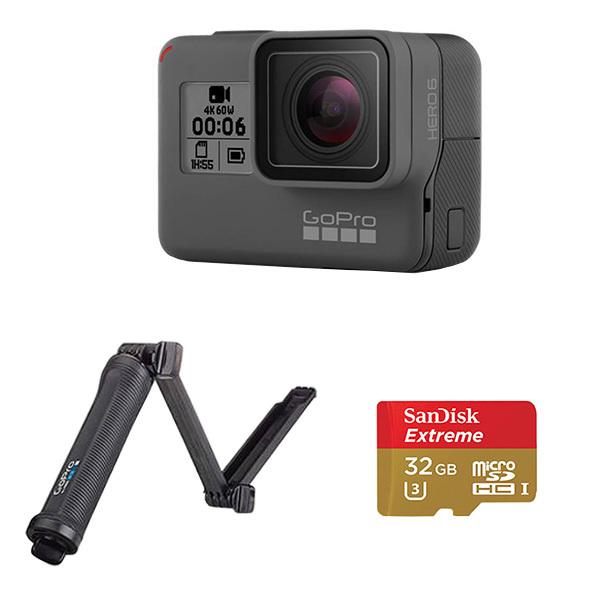 GoPro HERO6 Camera + 3-Way Mount + SanDisk microSD Card 32GB Image