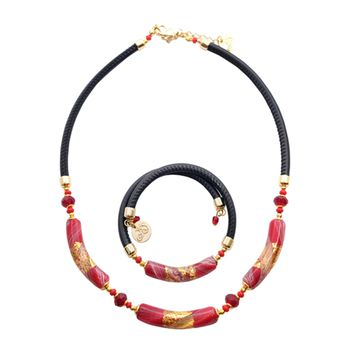 Murano Glass TRESSTORTO Necklace and Bracelet Set
