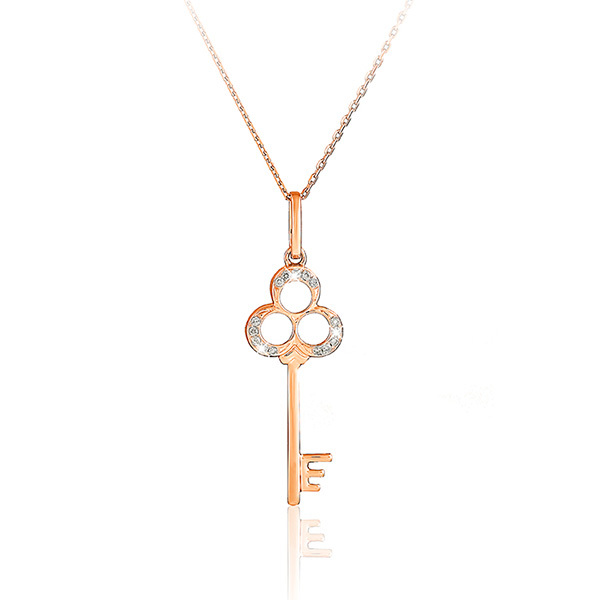 Liali CLOVER DIAMOND KEY 18K Pendant Necklace Image